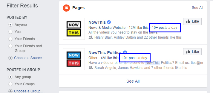 Facebook Now Lists Page Posting Frequency in Search Results